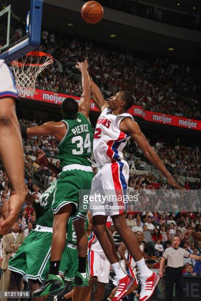 Theo Ratliff of the Detroit Pistons defends Paul Pierce of the Boston Celtics in Game Six of the Eastern Conference Finals during the 2008 NBA...