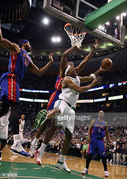 Theo Ratliff of the Detroit Pistons fouls Paul Pierce of the Boston Celtics during Game One of the 2008 NBA Eastern Conference finals at the TD...
