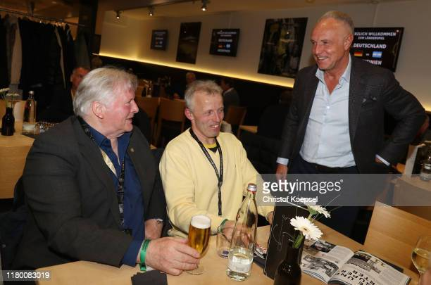 Theo Redder and Michael Rummenigge attend the Club Of Former National Players Meeting at Signal Iduna Park on October 09 2019 in Dortmund Germany