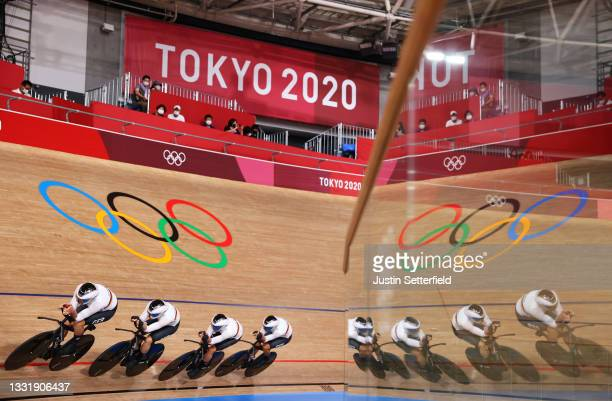 Theo Reinhardt, Felix Gross, Leon Rohde and Domenic Weinstein of Team Germany sprint during the Men´s team pursuit qualifying of the Track Cycling on...