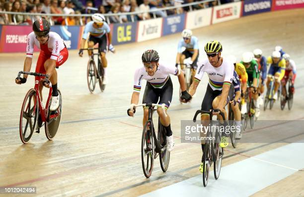 Theo Reinhardt of Germany and Roger Kluge of Germany compete in the Men's Madison final during the track cycling on Day five of the European...