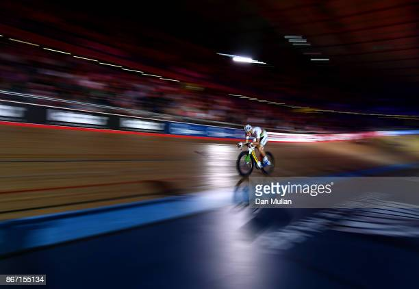 Theo Reinhardt of Germany competes in the Mens Madison Chase on day four of the London Six Day Race at the Lee Valley Velopark Velodrome on October...