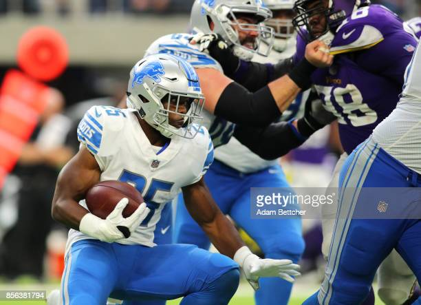 Theo Riddick of the Detroit Lions carries the ball in the second half of the game against the Minnesota Vikings on October 1 2017 at US Bank Stadium...