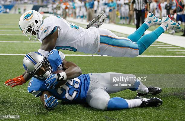 Theo Riddick of the Detroit Lions catches a fourth quarter touch down pass in front of Reshad Jones of the Miami Dolphins at Ford Field on November...