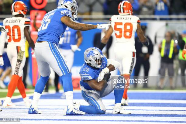 Theo Riddick of the Detroit Lions celebrates his touchdown catch during the game against the Cleveland Browns at Ford Field on November 12 2017 in...