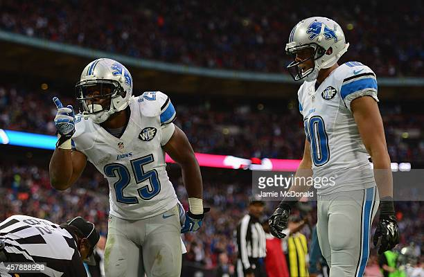 Theo Riddick of the Detroit Lions celebrates scoring a touchdown in the fourth quarter during the NFL match between Detroit Lions and Atlanta Falcons...