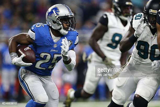 Theo Riddick of the Detroit Lions looks for room to run against the Jacksonville Jaguars during first half action at Ford Field on November 20 2016...