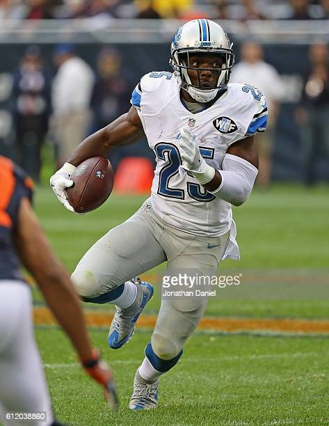 Theo Riddick of the Detroit Lions runs against the Chicago Bears at Soldier Field on October 2 2016 in Chicago Illinois