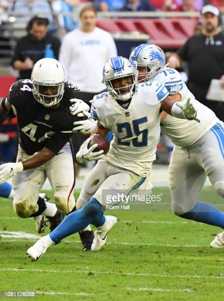 Theo Riddick of the Detroit Lions runs with the ball against the Arizona Cardinals at State Farm Stadium on December 09 2018 in Glendale Arizona