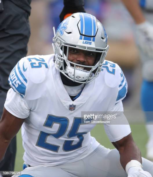 Theo Riddick of the Detroit Lions warms up before the start of NFL game action against the Buffalo Bills at New Era Field on December 16 2018 in...