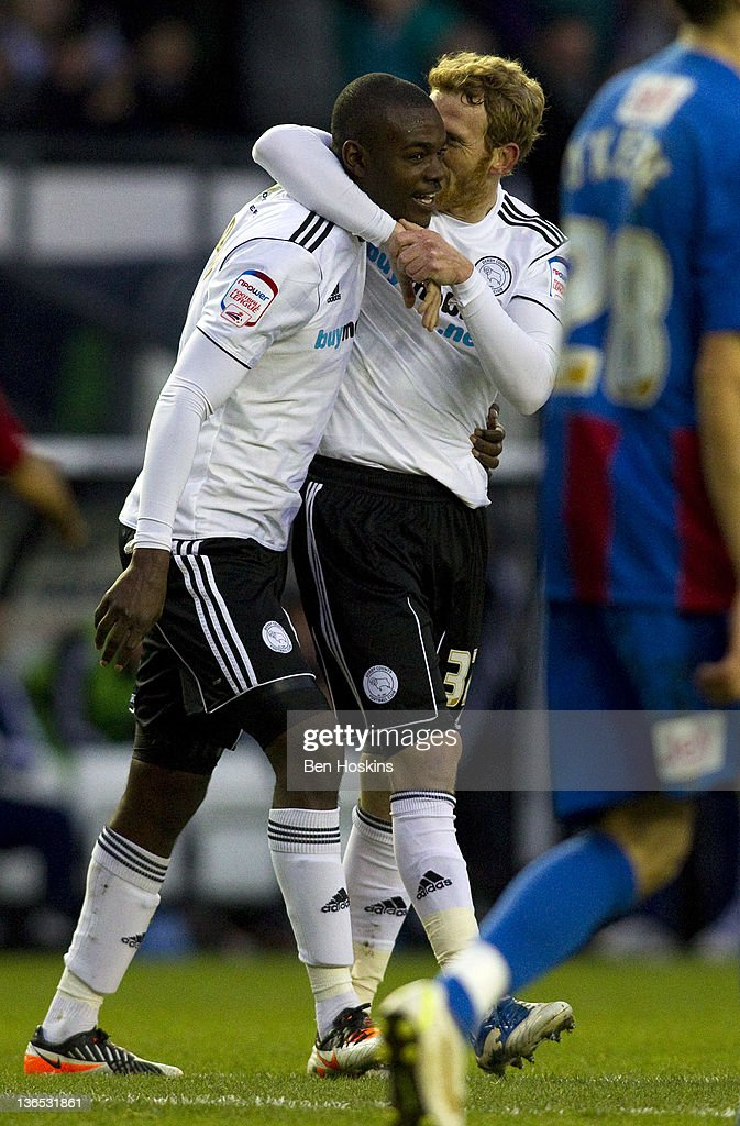 Theo Robinson (L) of Derby celebrates scoring the opening goal of the game during the FA Cup sponsored by Budweiser Third Round match between Derby County FC and Crystal Palace FC at Pride Park on January 7, 2012 in Derby, England.