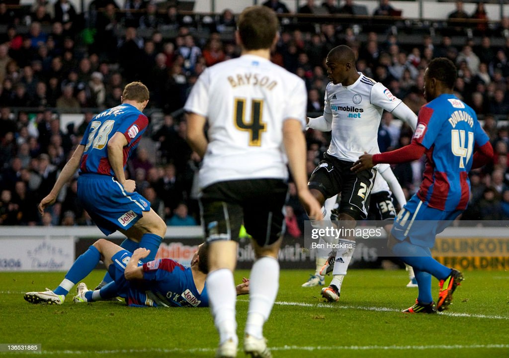 Theo Robinson of Derby (2nd R) scores the opening goal of the game during the FA Cup sponsored by Budweiser Third Round match between Derby County FC and Crystal Palace FC at Pride Park on January 7, 2012 in Derby, England.