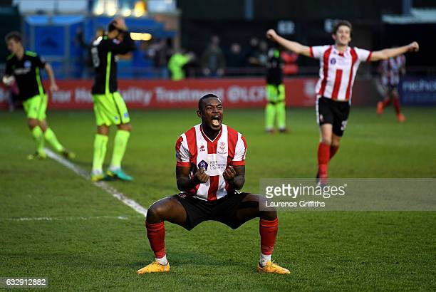 Theo Robinson of Lincoln City celebrates his side's second goal scored by Fikayo Tomori of Brighton and Hove Albion during the Emirates FA Cup Fourth...