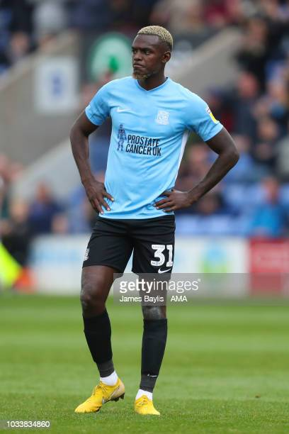 Theo Robinson of Southend United during the Sky Bet League One match between Shrewsbury Town and Southend United at New Meadow on September 15 2018...