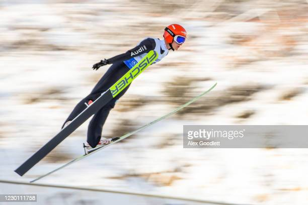 Theo Rochat of France competes during the men's HS 100 ski jumping event on Day 3 of the FIS Nordic Combined Continental Cup at Utah Olympic Park on...