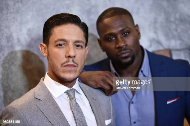 Theo Rossi and Thomas Q Jones attend the 'Luke Cage' Season 2 premiere at The Edison Ballroom on June 21 2018 in New York City