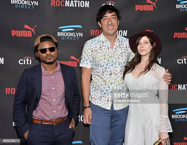 DJ Theo Spielberg musician Edward Droste and Dj Sasha Spielberg arrive at the Roc Nation Grammy Brunch 2015 on February 7 2015 in Beverly Hills...