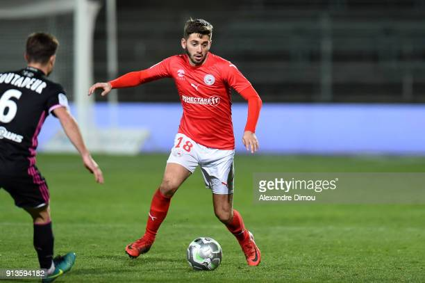 Theo Valls of Nimes during Ligue 2 match between Nimes and AC Ajaccio at Stade des Costieres on February 2 2018 in Nimes France