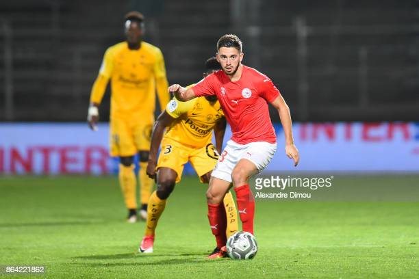 Theo Valls of Nimes during the Ligue 2 match between Nimes Olympique and Stade Brestois at on October 20 2017 in Nimes France