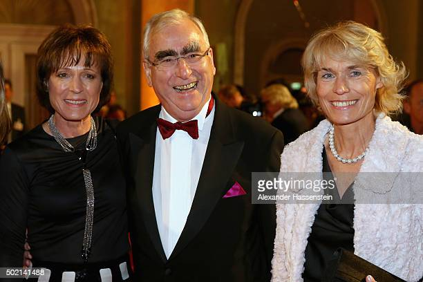 Theo Waigel arrives with Marlene Epple and Irene Epple at the Sportler des Jahres 2015 gala at Kurhaus Baden-Baden on December 20, 2015 in...