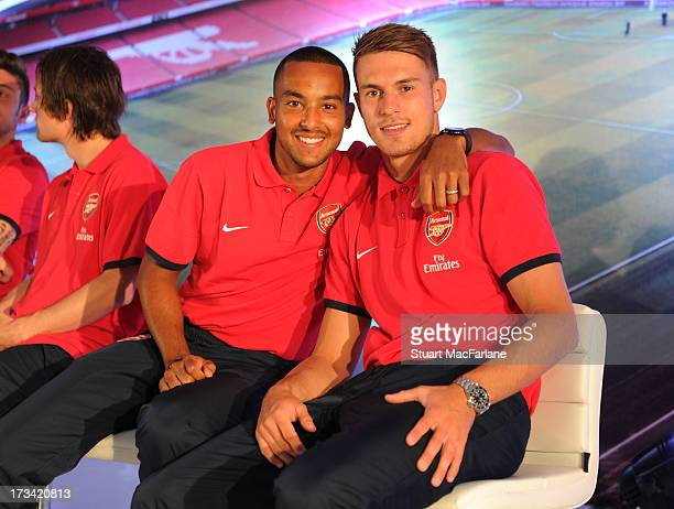 Theo Walcott and Aaron Rasmsey of Arsenal FC attend a Fan Party in Indonesia for the club's preseason Asian tour on July 13 2013 in Jakarta Indonesia