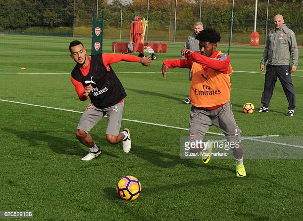 Theo Walcott and Ainsley Maitland-Niles of Arsenal during a training session at London Colney on November 3, 2016 in St Albans, England.