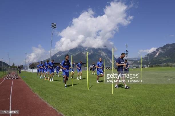 Theo Walcott and Cenk Tosun of Everton during the Everton training session on July 12 2018 in Bad Mitterndorf Austria
