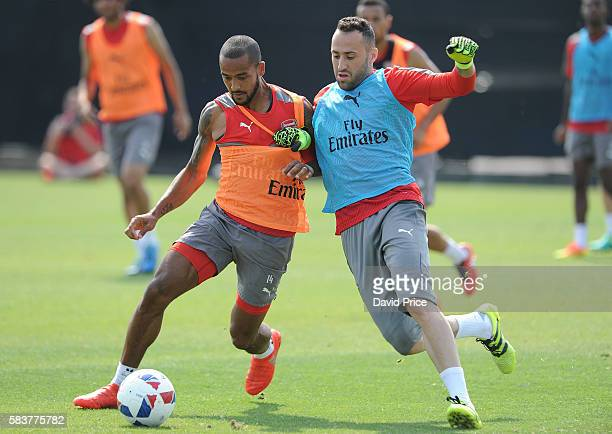 Theo Walcott and David Ospina of Arsenal during the Arsenal Training Session at San Jose State University on July 27 2016 in San Jose California
