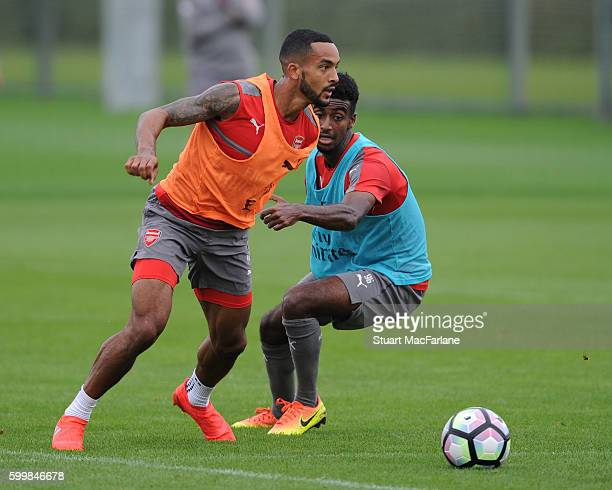 Theo Walcott and Gedion Zelalem of Arsenal during a training session at London Colney on September 7 2016 in St Albans England