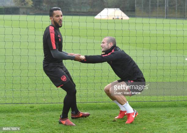 Theo Walcott and Jack Wilshere of Arsenal during a training session at London Colney on November 1 2017 in St Albans England