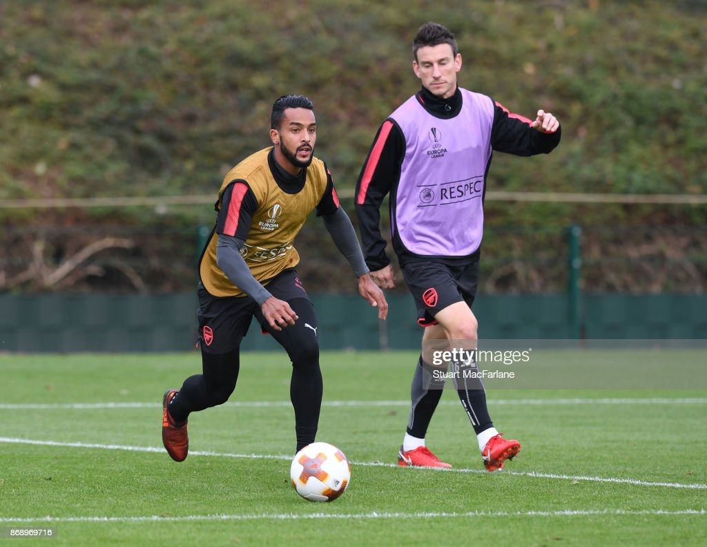 Theo Walcott and Laurent Koscielny of Arsenal during a training session at London Colney on November 1, 2017 in St Albans, England.