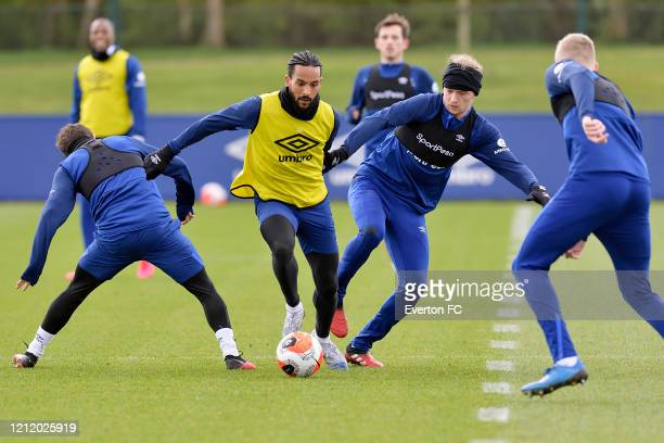 Theo Walcott and Tom Davies during the Everton Training Session at USM Finch Farm on March 11 2020 in Halewood England