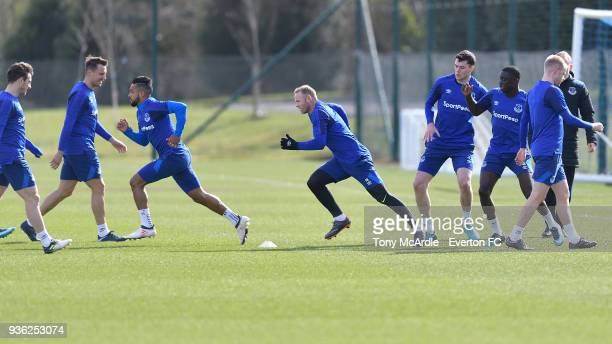 Theo Walcott and Wayne Rooney during the Everton FC training session at USM Finch Farm on March 21 2018 in Halewood England