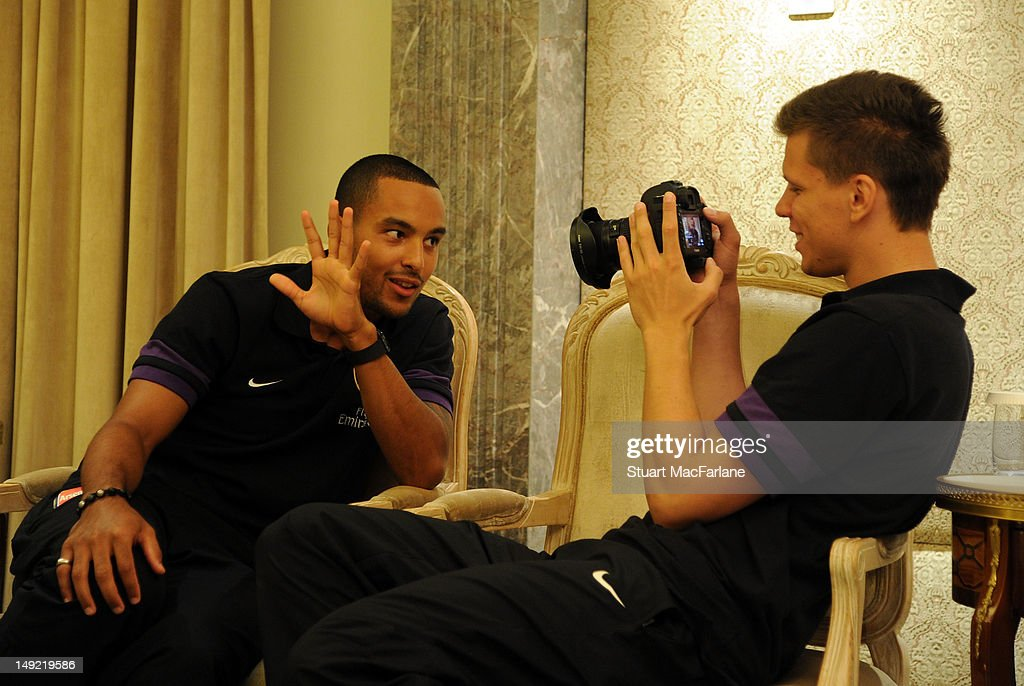 Theo Walcott and Wojciech Szczesny of Arsenal record interviews before attending a charity dinner in Beijing during their pre-season Asian Tour in China on July 25, 2012 in Beijing, China.