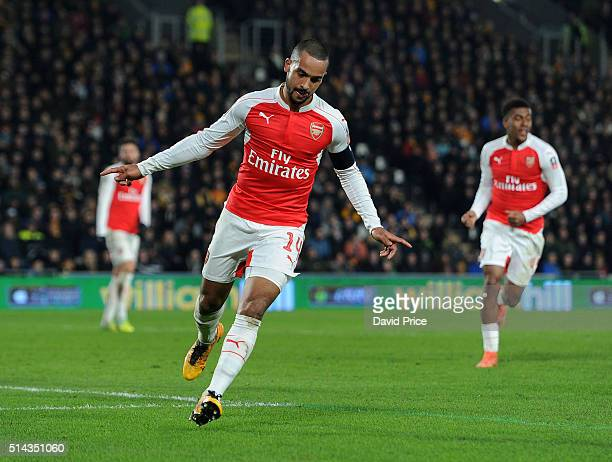 Theo Walcott celebrates scoring Arsenal's 3rd goal during the match between Hull City and Arsenal in the FA Cup 5th round at KC Stadium on March 8...