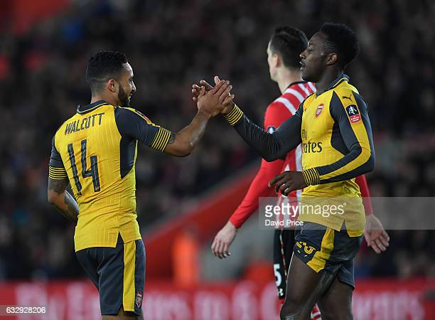 Theo Walcott celebrates scoring his 1st goal Arsenal's 3rd with Danny Welbeck during the match between Southampton and Arsenal at St Mary's Stadium...