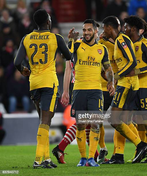 Theo Walcott celebrates scoring the 3rd Arsenal goal with Danny Welbeck during the Emirates FA Cup Fourth Round match between Southampton and Arsenal...