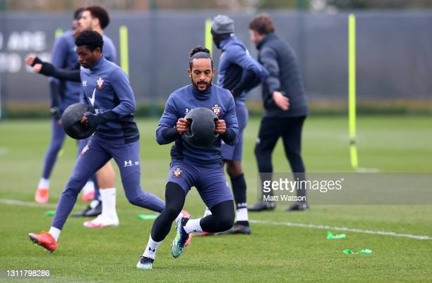 Theo Walcott during a Southampton FC training session at the Staplewood Campus on April 10, 2021 in Southampton, England.