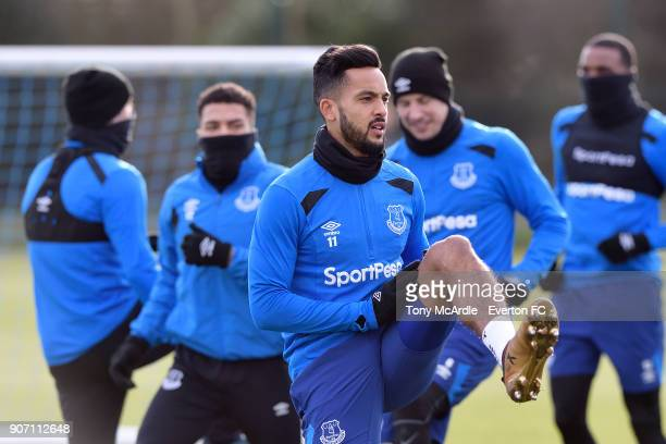 Theo Walcott during the Everton FC training session at USM Finch Farm on January 19 2018 in Halewood England