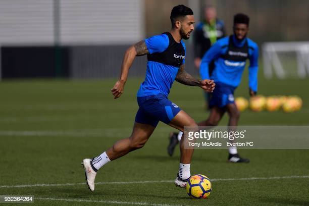 Theo Walcott during the Everton FC training session at USM Finch Farm on March 15 2018 in Halewood England