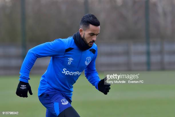 Theo Walcott during the Everton training session at USM Finch Farm on February 8 2018 in Halewood England