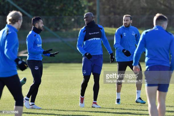 Theo Walcott Eliaquim Mangala and Cenk Tosun during the Everton training session at USM Finch Farm on February 2 2018 in Halewood England