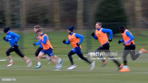 Theo Walcott Gylfi Sigurdsson and team mates during the Everton FC training session at USM Finch Farm on March 6 2018 in Halewood England
