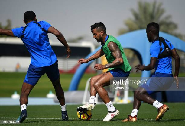 Theo Walcott in action during the Everton warm weather training camp at NAS Sports Complex on February 17 2018 in Dubai United Arab Emirates