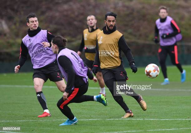 Theo Walcott Laurent Koscielny and Hector Bellerin of Arsenal during the Arsenal Training Session at London Colney on December 6 2017 in St Albans...