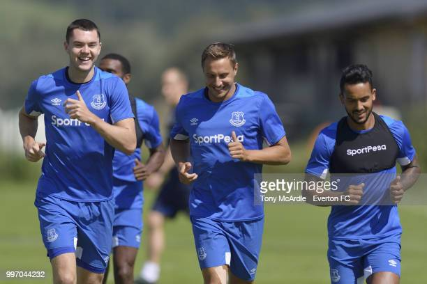 Theo Walcott Leighton Baines and Michael Keane of Everton during the Everton training session on July 12 2018 in Bad Mitterndorf Austria