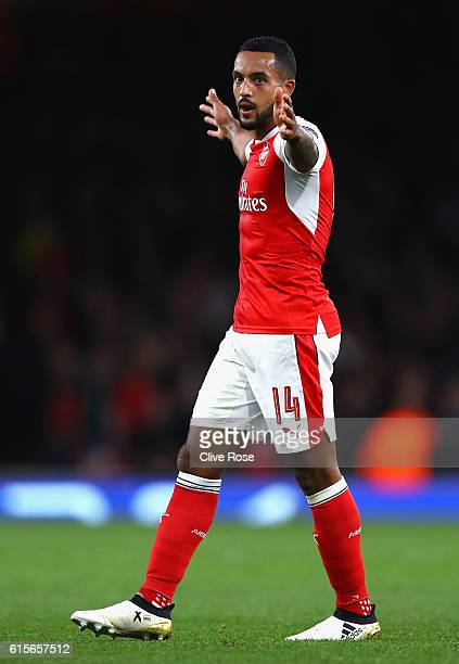 Theo Walcott of Arsenal celebrates after scoring his team's second goal of the game during the UEFA Champions League group A match between Arsenal FC...