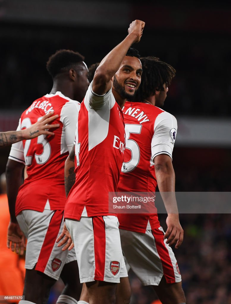 Theo Walcott of Arsenal celebrates scoring his sides second goal during the Premier League match between Arsenal and West Ham United at the Emirates Stadium on April 5, 2017 in London, England.