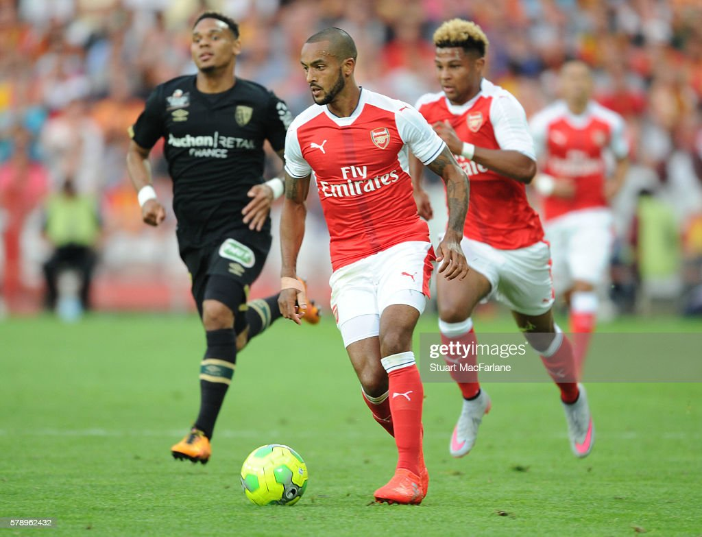 Theo Walcott of Arsenal during a pre season friendly between RC Lens and Arsenal at Stade Bollaert-Delelis on July 22, 2016 in Lens.