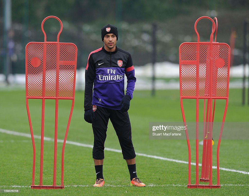 Theo Walcott of Arsenal during a training session at London Colney on January 15, 2013 in St Albans, England.